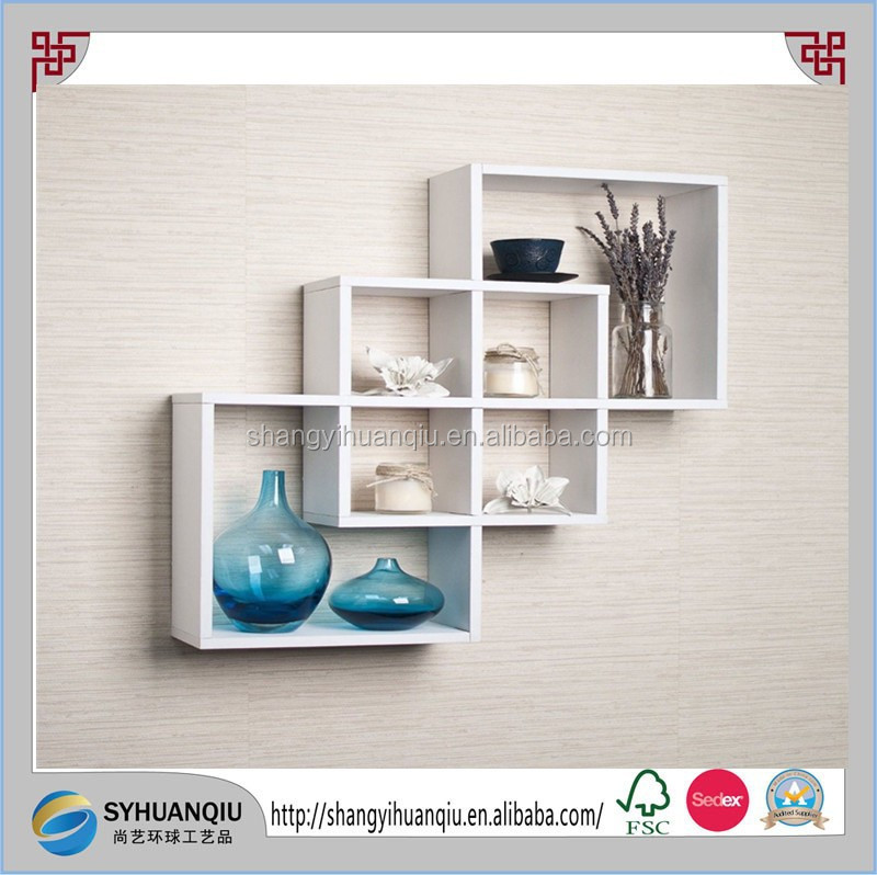 New Wood Wall Shelf Intersecting Boxes Decorative Ledge for Home Display Decor