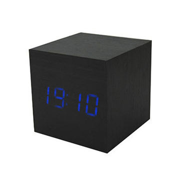 wb mx1293 cube led digital alarm clock square modern wood. Black Bedroom Furniture Sets. Home Design Ideas