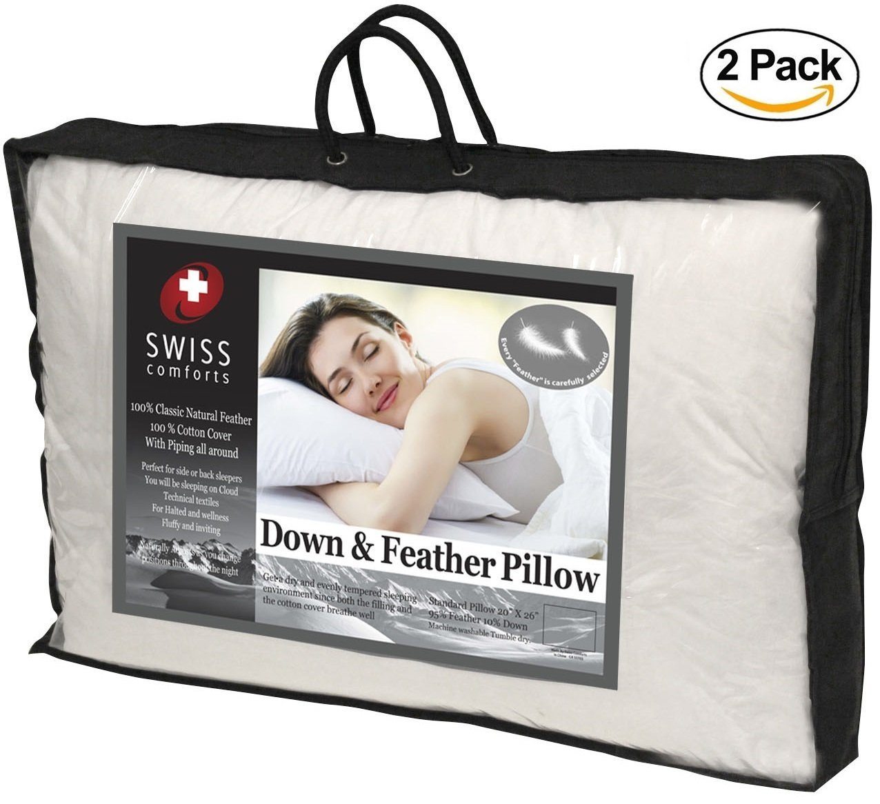 """Swiss Comforts Feather and White Down Pillows by [2 PACK] Hypoallergenic Luxury Soft & Fluffy Hotel Quality Pillows with 100% Cotton Tight-Weave Shell, Odor-Free King 20"""" X 36"""""""