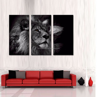 LK3199 3 Panels Lion Animals Oil Painting For Modern Home Decoration Print on Canvas Giclee Artwork Framed/Unframed