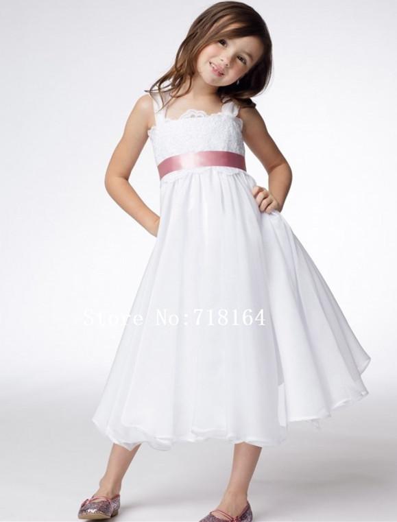 spaghetti straps white chiffon flower girl dress