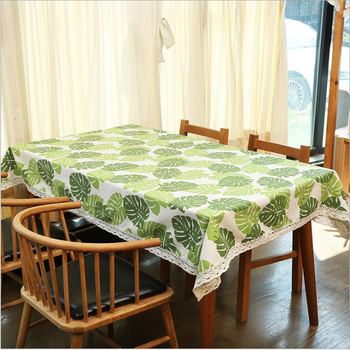 Leaves Printed Patterns Cotton Linen Table Cloth for Home/Party/Wedding Square Table Cloth
