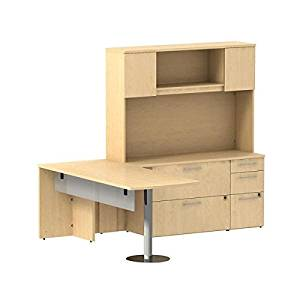 "Bush L Shaped Desk W/Hutch 72""W X 30""D X 72""H Bundle Includes: 72W X 30D Peninsula Desk W/Glass Modesty Panel, Hutch, Return, Lateral File & Storage Pedestal       - Natural Maple"