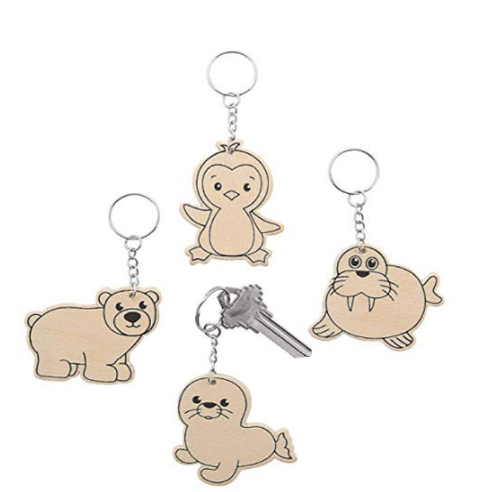 DIY Coloring Arctic Animals Wood Keychains