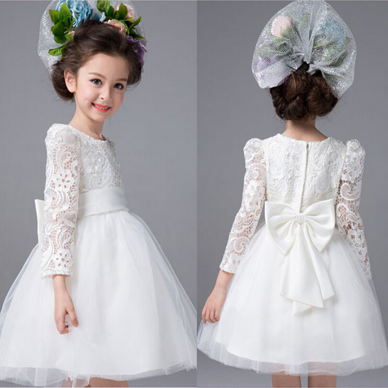 2016 New Flower Girl Dresses Long Sleeve Communion Ball