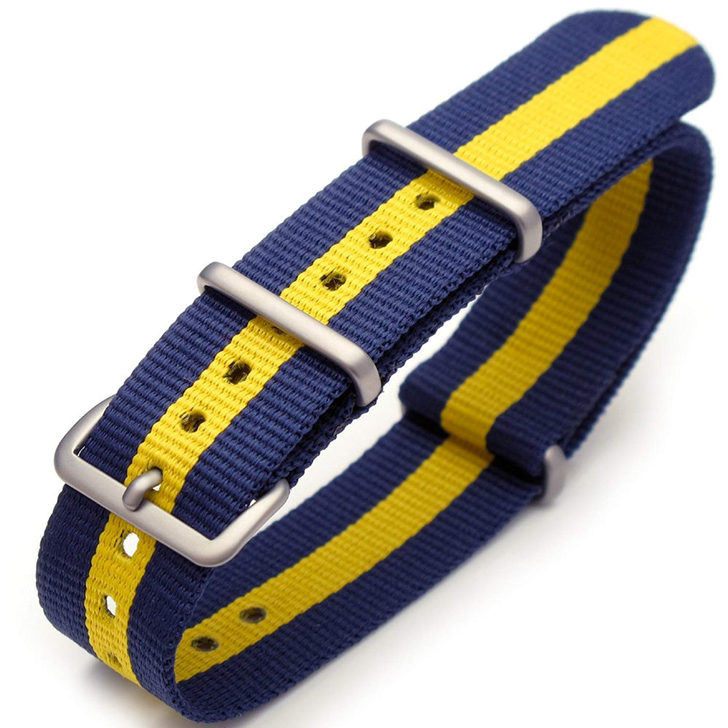457884d0018 Get Quotations · 20mm G10 Nato James Bond Nylon Watch Strap Brushed Buckle  - Blue   Yellow