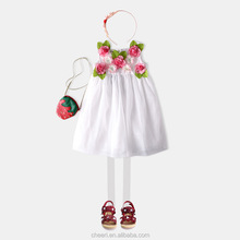 latest high quality white nice flower dress baby cotton with yarn fancy baby frocks