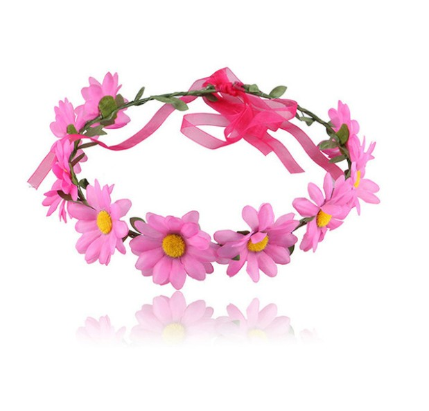 New Seaside Sunflower HeaddressPlastic circle head band support and silk artificial flower garland for party school show adult h