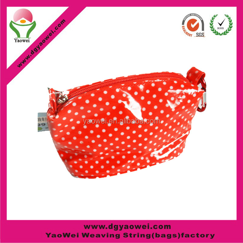 newest fashion cheaper custom patent leather red/white logo cosmetic bag red PVC toiletry bag