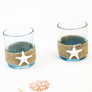 ocean blue style glass candle holder