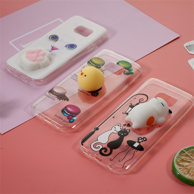 Finger Pinch Squishy 3D Silicone Squishy Cat TPU Protect Phone Case for Samsung S6/S7/S8