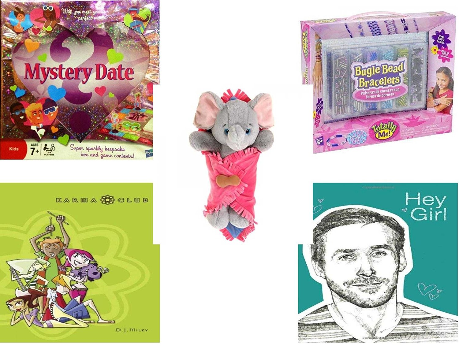 "Girl's Gift Bundle - Ages 6-12 [5 Piece] - Mystery Date Sparkle and Shine Game - Totally Me. Bugle Bead Bracelets Kit Toy - Elephant Blanket Babies Plush Stuffed Animal Toy 11"" - Attack of the Gree"