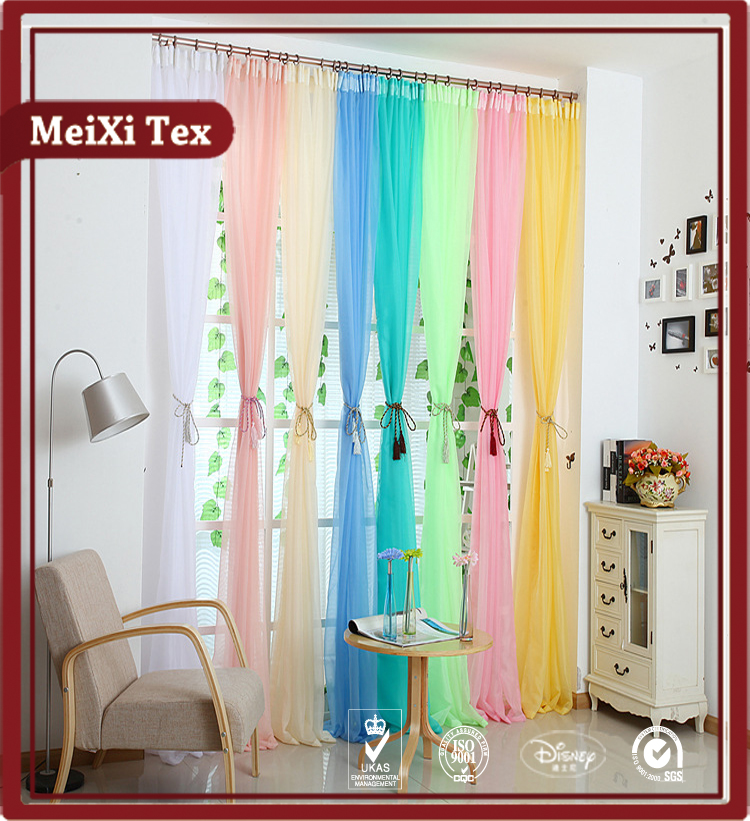 100% polyester sheer voile fabric curtain