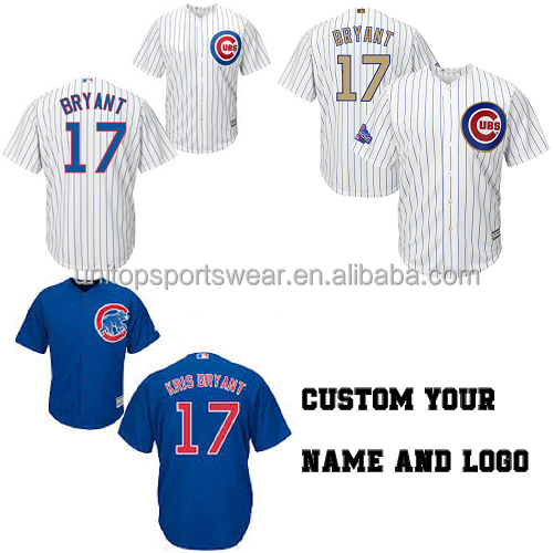 CHICAGO CUBS KRIS BRYANT COOL BASE MULTIPLE COLOR blue white striped BASEBALL MLB JERSEY