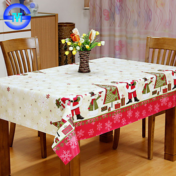 Oilproof Custom Christmas Table Cloth Cheap Thick Vinyl Table Cloths Round
