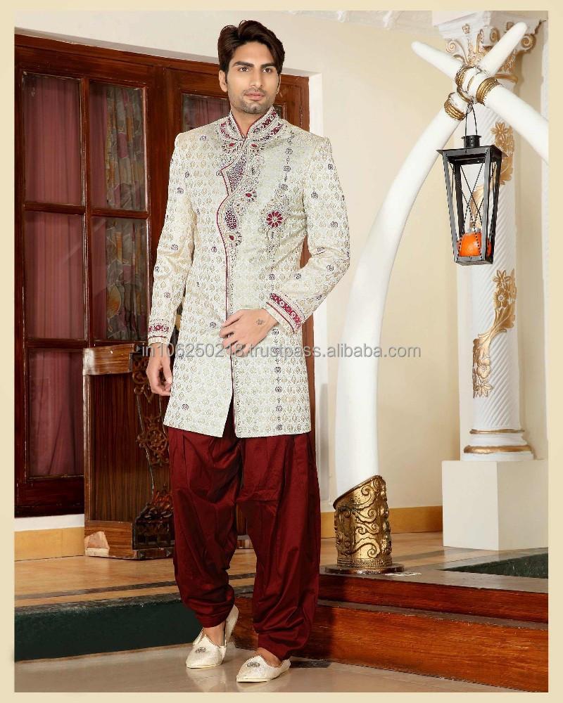 Pakistani Mens Sherwani Black Designs For Men Embroidered Designer R3389