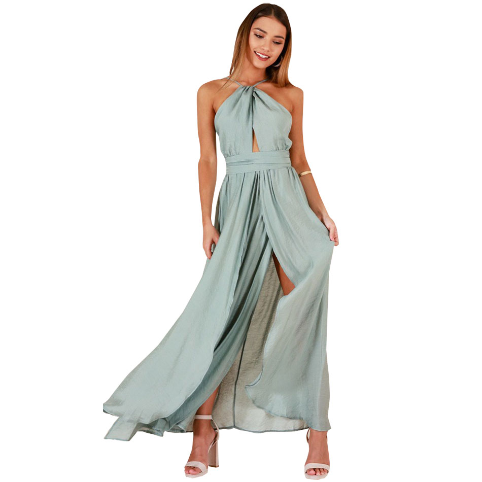 Wanita Gaun Prom Elegan Strapless Halter Backless Cross Lace-Up Tinggi Split Perban Panjang Maxi Gaun Pesta
