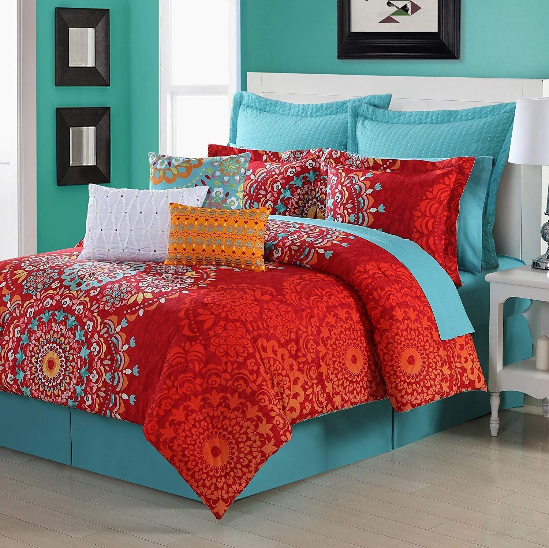 D&H 2 Piece Red Medallion Comforter Twin Set, Beautiful Bohemian Boho Chic Hippy Bedding, Multi Mandala Motif Themed, Pretty Floral Flower Paisley Hippie Pattern, Orange Yellow Blue White