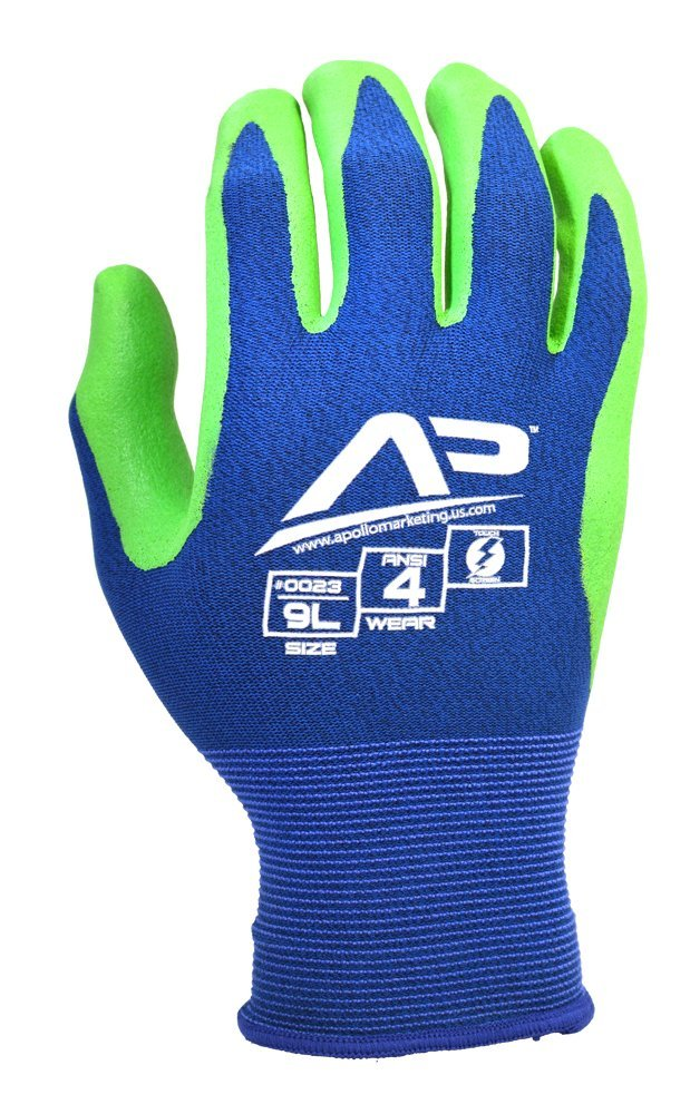 Apollo Performance Work Gloves 21, Ultra Sheer Assembly Multi-Task Glove with Foam Nitrile, 18 Gauge Nylon Knit, Touch Screen Capabilities with Lightning Touch Technology , 1 Pair, Small, Blue/Green
