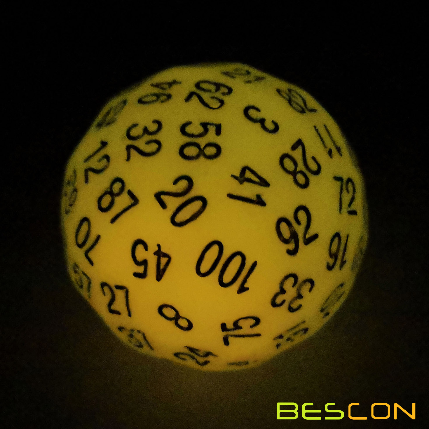 Bescon Glow in Dark Polyhedral 100 Sides Dice Glowing Yellow, Luminous D100 Dice, 100 Sided Cube, Glow-in-Dark D100 Game Dice фото