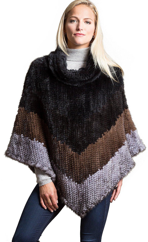 Overland Sheepskin Co. Penelope Knitted Danish Mink Fur Poncho