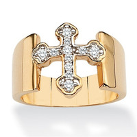 Yiwu Aceon Stainless Steel Overlay Cubic Zirconia Glam CZ 14k Gold Cross Ring