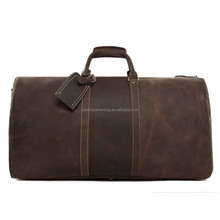 Vintage Top Grain Genuine Leather Travel Bag Holdall Luggage Leather Duffle Bag