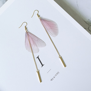 14k Gold plated vertical bar pendant transparent angel wing earrings