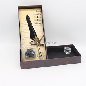 High Quality Stainless Steel Black Metal Feather Quill Fountain Pen
