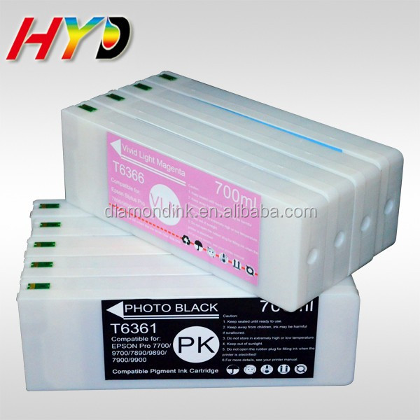 For Epson 7890 9890 Compatible Ink Cartridge with chip and Pigment ink for Epson T6361-T6369 Compatible Cartridge