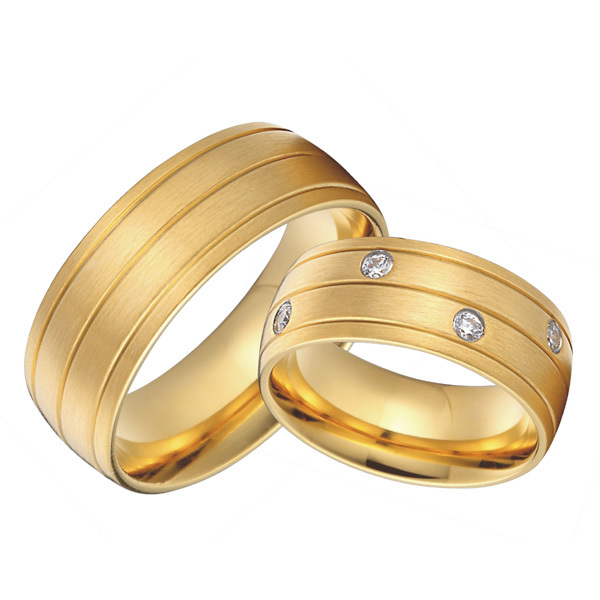 bridal pair 18k gold plated health titanium jewelry 8mm custom alliance wedding bands couples rings sets for lovers