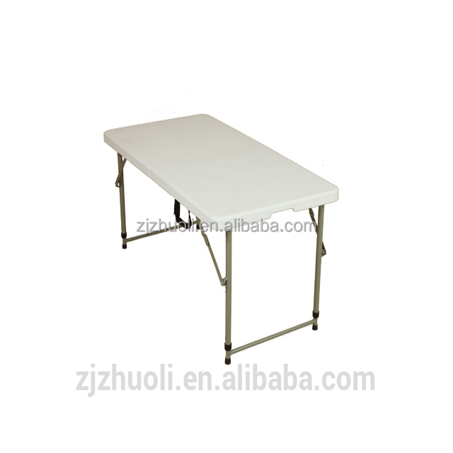 4ft Fold In Half Table Adjustable Plastic Folding Table