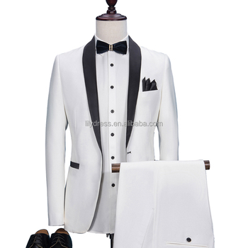 HD041 2019 Fashion White Groom Tuxedos Wearing Slim Fit Tailored Suit Black Shawl Lapel Wedding Suits For Men (Jacket+Pants)