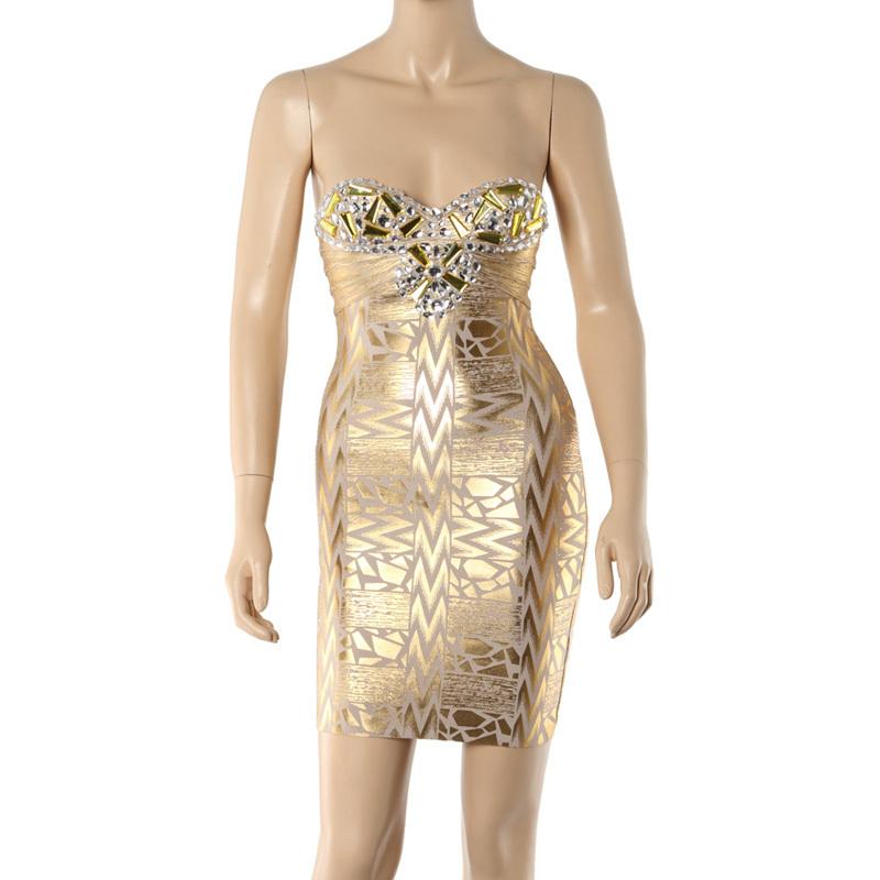 ba42e191dfa Get Quotations · Gold Off the Shoulder Sexy Women s New Fashion Foil Print  Bandage Dress Elegant Celebrity Style