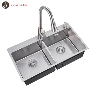 SGS Metal Undermount Handmade Double Bowl 304 201 Stainless Steel Kitchen Sink