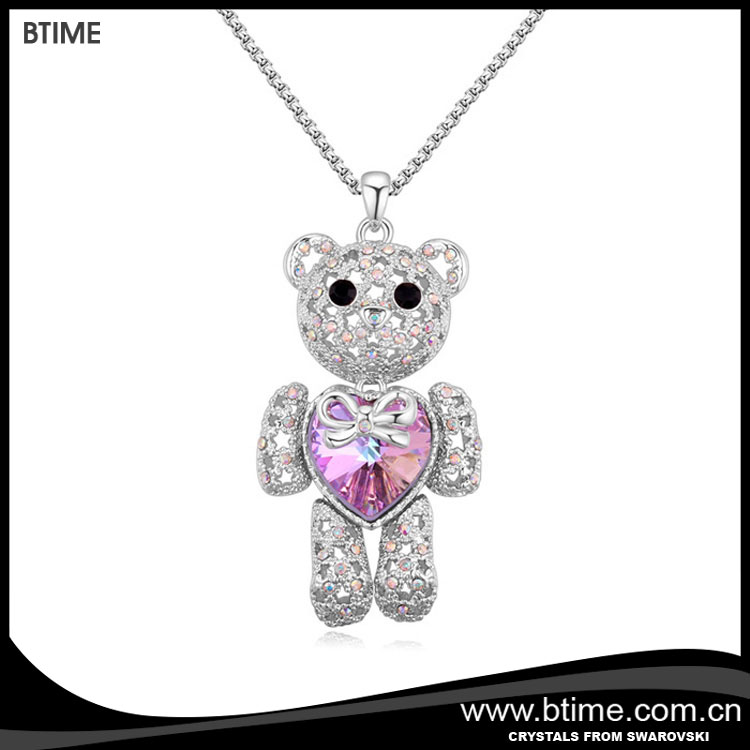 Austria long chain cute bear drop necklace crystals from swarovski