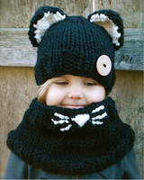 Crochet Patterns Knitted Baby Earflap Beanie Hat And Scarf Set