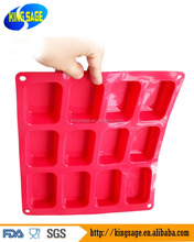 12 Oblongs Rectangle Bar Silicone Cake Baking Mold Cake Pan Muffin Cups Handmade Soap Moulds Biscuit Chocolate Ice Cube Tray DIY