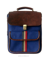 Leather flap canvas backpack Canvas computer bag