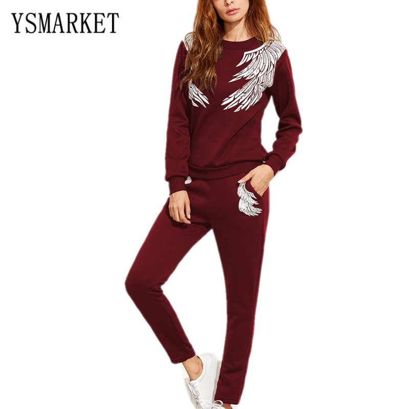 YSMARKET 4 Color Women Autumn Winer Fashion 2 Piece Set Tracksuits Long Sleeve Crop Top And Pants Set Sporting Suits E560 30% фото