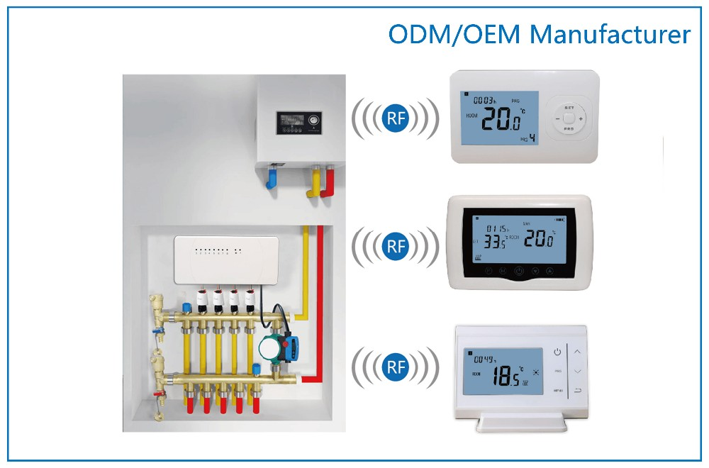 8 zone central control wireless thermostats for water. Black Bedroom Furniture Sets. Home Design Ideas
