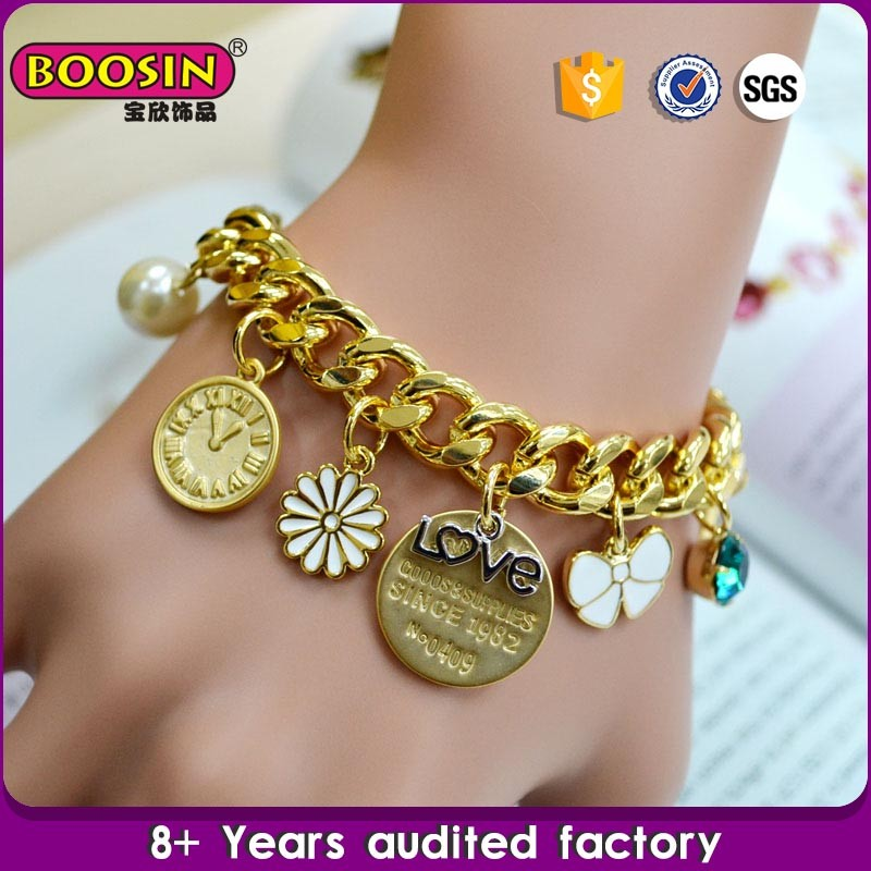 Chinese Manufacturer custom Fashion round metal links bracelet