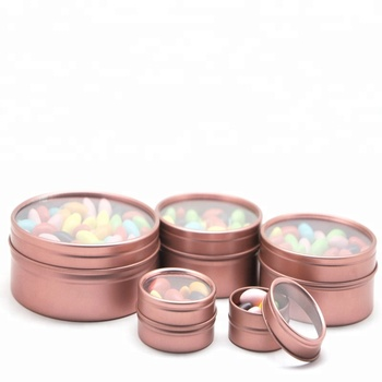 Customized 2 oz 3 OZ 4OZ 8 Oz shallow round tin can rose gold candle tins can With Window Lids