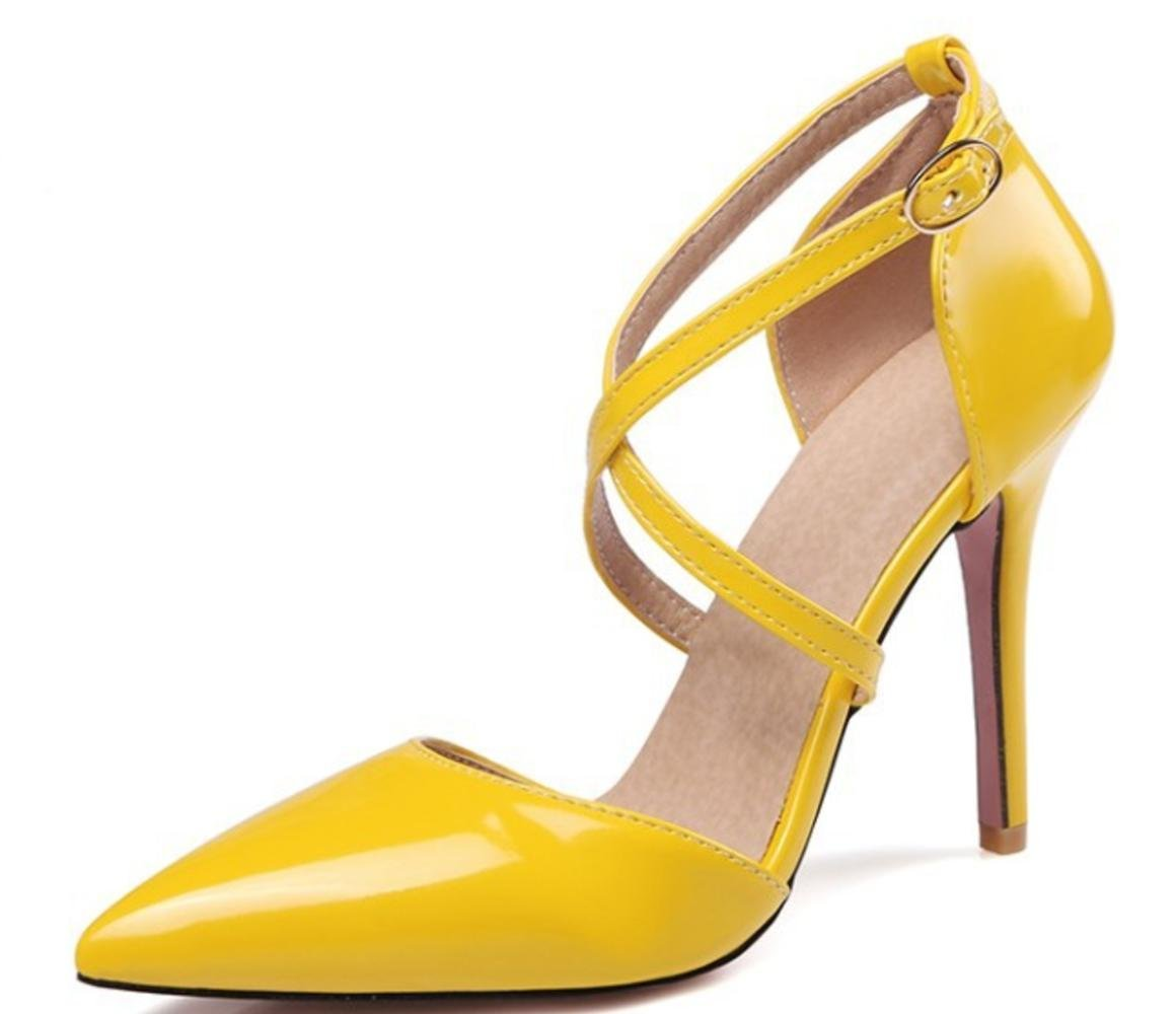 b7d3614516c Get Quotations · CSDM WOMEN Large Size Stiletto Heel Pointed toe Wedding  Shoes Bridal Shoes High Heels Sandalss Yellow