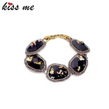 Amazing Elegant Gold Zinc Alloy Imitation Gem Jet Women Bracelets Bangles