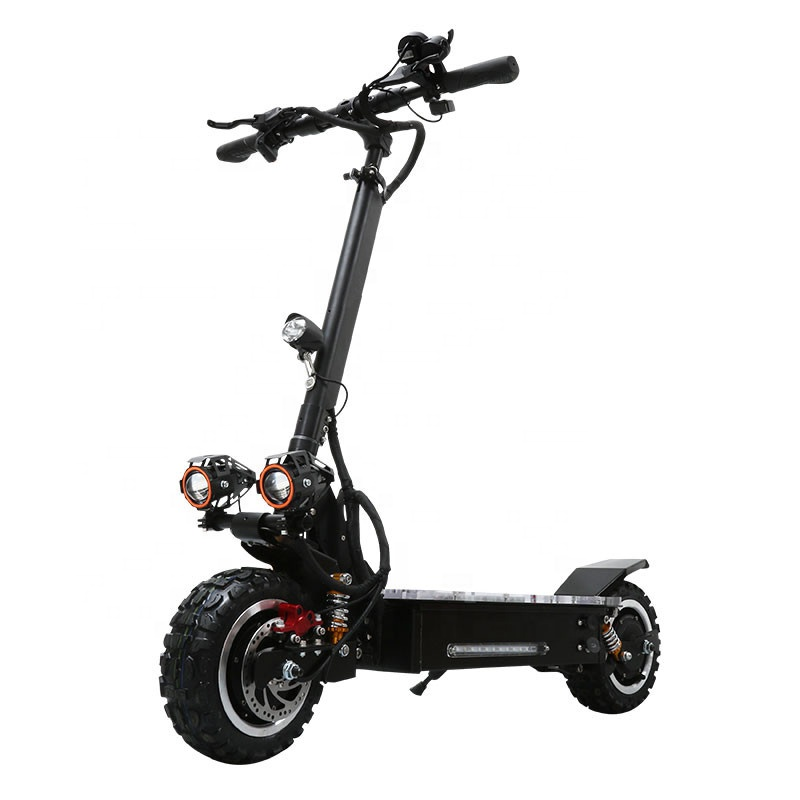 60v 3200W dual motor folding powerful scooter 11inch fat tire off road adult electric scooter with removable seat, Black for big powerful electric scooter