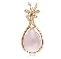 2013 gold necklace cheap engraved necklaces Rose Quartz pendant necklace