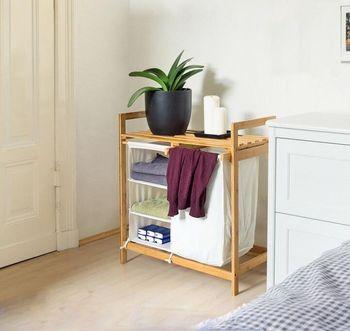 Bamboo Bathroom Laundry Basket Shelf