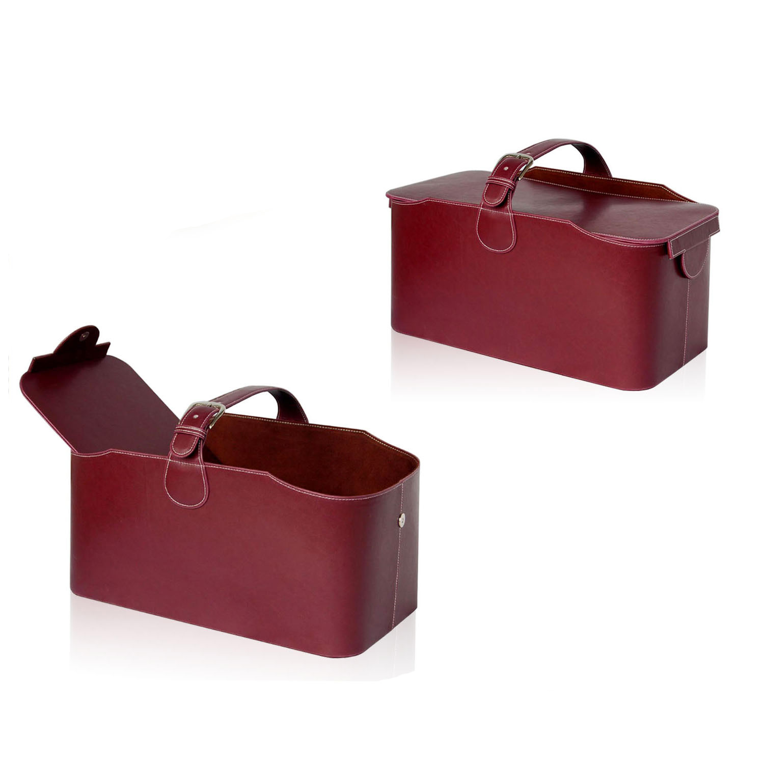 Accept Custom Color Handmade Sundries Packing Leather Storage Basket With Lid