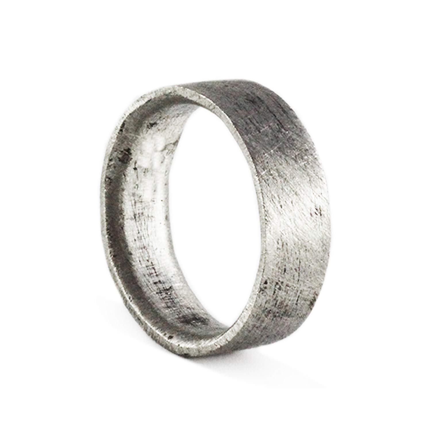 Get Quotations Rustic Wedding Ring Mens Band Oxidized Silver Personalized Engraving Man